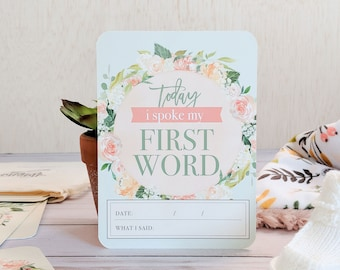 Watercolor Floral Baby Milestone Cards. Baby Milestone Cards. Baby Milestone Stickers. Baby Monthly Milestone. Baby Monthly Floral.