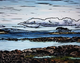 Original Linocut Print, Hand coloured, Hand Painted Lino Print, Tasmanian Landscape, Seascape, White Beach, Large Linocut Print