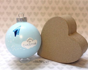 Baby's First Christmas Ornament READY TO SHIP Paper Airplane Cloud Hand Painted Glass Bauble New Baby Blue New Baby Boy