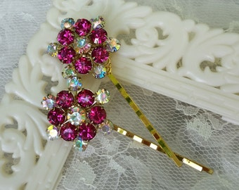 VINTAGE FUCHSIA Rhinestone Bridal Bridesmaids Hair Pins Bobby Pins Mother of the Bride Champagne Aurora Borealis One of a Kind Sparkle