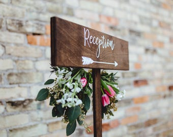 Reception Arrow Sign with Stake, Wedding Reception Rustic Wood Arrow, Wedding Reception Sign or Signage