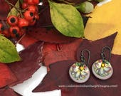 Vintage Tea Tin Earrings - Pastel Gray