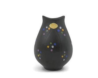 Upsala Ekerby Vase MCM Swedish Pottery Matte Black with Hand Painted  Dots Hjördis Oldfors