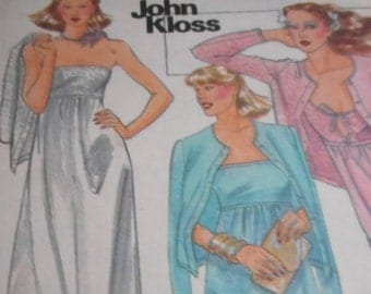 Vintage 1970's Butterick 5703 John Kloss Gowns and Jacket Sewing Pattern Size 8 Bust 31.5