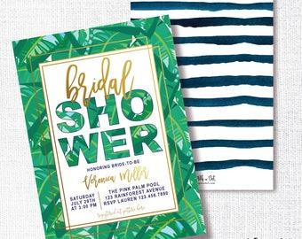 TROPICAL PALM bridal shower invitation, summer, honeymoon, baby shower, wedding shower, bridal brunch, modern invite, modern, beach party