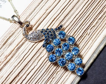 Gold and Blue Peacock Necklace