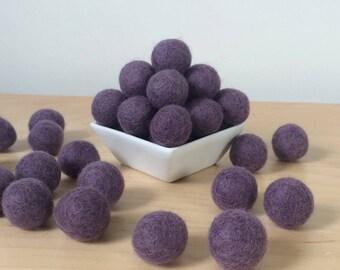 Felt Balls: AMETHYST, Felted Balls, DIY Garland Kit, Wool Felt Balls, Felt Pom Pom, Handmade Felt Balls, Purple Felt Balls, Purple Pom Poms