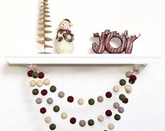 Felt Ball Garland Christmas, Christmas Pom Pom Garland, Holiday Decor, Christmas Tree Decor, Winter Garland, Christmas Party Decoration