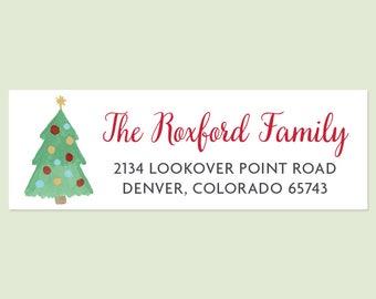 Christmas Tree Holiday Return Address Labels - Christmas Return Address Labels, Holiday Address Labels, Christmas Tree Sticker, Christmas