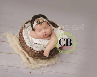 newborn bow, baby girl bow, baby headband, tieback, hair accessory, neutral bow, infant headband, newborn photo prop, burlap bow, nylon bow
