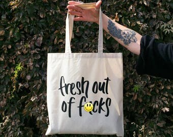 """Fresh Out Of F-cks Lightweight Canvas Tote Bag, 15"""" W x 16"""" H, Reusable Shopping Bag"""