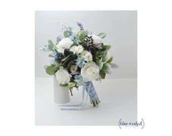Wedding Bouquet Boho Bridal Blue Faux Artificial