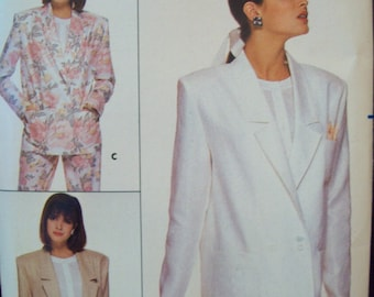 1980s Unlined Jacket Blazer Fast & Easy  Butterick Family Circle Pattern 3691 Sizes 8-10-12