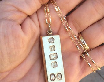 Vintage Sterling Silver Charles and Diana Ingot Necklace, Prince Charles and Lady Diana Wedding 1981 Ingot, 1 ounce, 30 grams