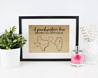 Grandma Gift Personalized Gift for Grandma Mothers Day Gifts for Grandma Gift from Granddaughter Gifts for Mom Long Distance Family Map Art