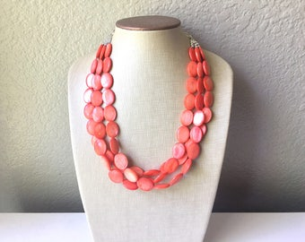Chunky Multi Strand Strand Coral Shell Statement Necklace, pink - orange oval beaded jewelry, shell necklace, coral jewelry, pink necklace