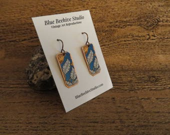 Vintage reproduction, blue and orange floral motif, floral copper earrings, brass earwires  (Style no. EBX2013)