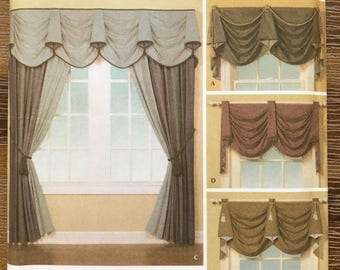 UNCUT Valance, Window Shade, Curtain, Panel Sewing Pattern Simplicity 4688 Home Decorating, Interior Design Pattern