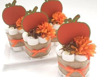 set of 4 little pumpkin mini diaper cakes little pumpkin baby shower decorations halloween