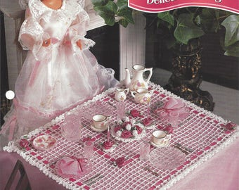 Delicate Dining Crochet Fashion Doll Pattern, Tablecloth, Candlesticks, Flower Basket, Table Topper, Fashion Doll Wedding, Annie's Crochet