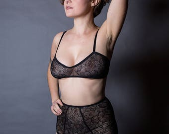 High Rise Briefs in Black Stretch Lace