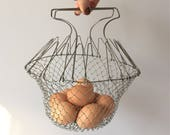 Wire Mesh Basket, Vintage Egg Basket, Collapsible Folding Basket, Modern Farmhouse Decor, Root Vegetable Storage, French Country Kitchen