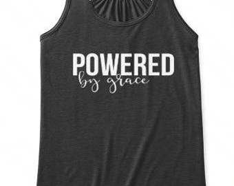 Powered By Grace Faith Tank Top, Scripture Shirt, Women Modern Workout Apparel, Illustrated Faith Christian T-shirt, Fitness Gift for Her