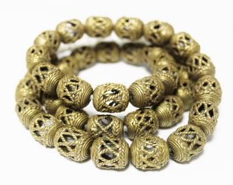 African Brass Cage Beads for Jewelry Making, Handmade Ethnic Beads (AQ15)
