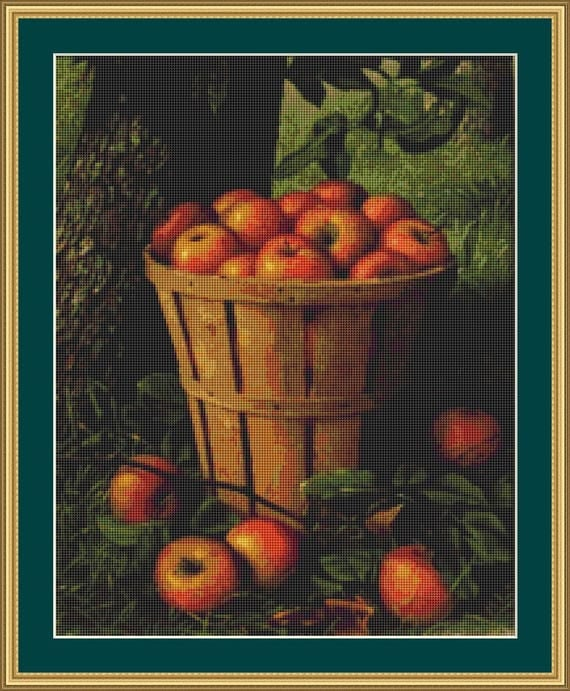 Basket Of Apples Cross Stitch Pattern /Digital PDF Files /Instant downloadable