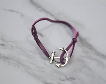 Dark Purple Anchor Bracelet
