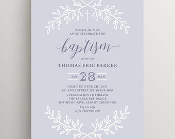 Printable Boy Baptism, Christening Invitation (CH73)