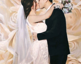 Wedding Gift for Bride - Wedding Portrait - Custom Oil Painting - Wedding Day Gift - Fast Turnaround