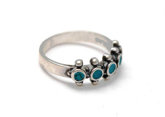 Turquoise sterling band ring - southwestern - Native American - size