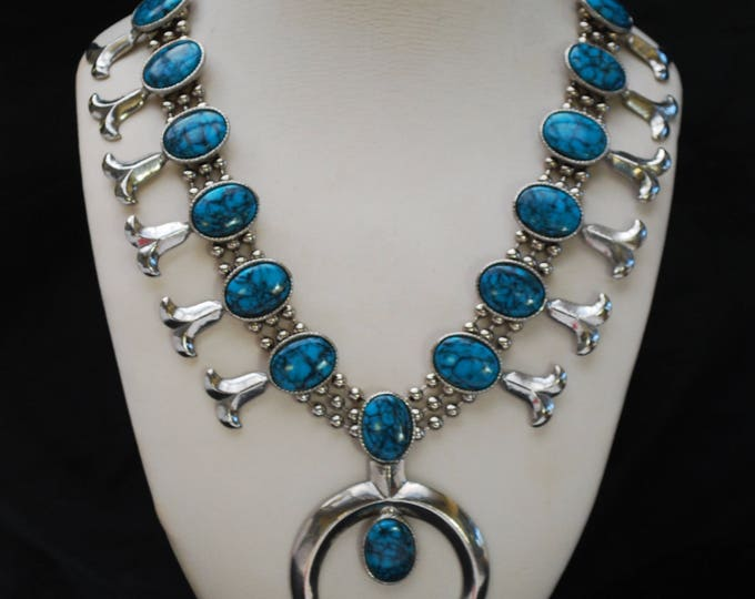 Faux Turquoise Squash Blossom Necklace - Goldette Signed - Native American Silver tone metal - Southwestern - Statement bib Necklace