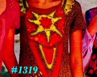 Vintage 1970s Boho Starfish Lace Sweater #1319 PDF Digital Crochet Pattern