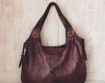 Leather handbag // Boho slouch purse // Soft genuine leather // Gifts for her // Brown // Natural // Unique // Genuine // Zoe