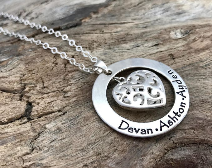 Personalized Name Pendant | Family Names Necklace | Necklace with Kids Names | Sterling Silver | Filigree necklace | Heart Necklace