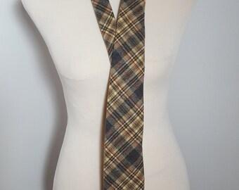 Vintage 1970s Pendleton Virgin Wool Brown Plaid Necktie  9501