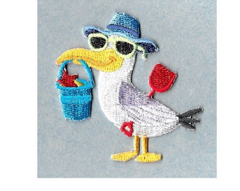 Seagull - Beach - Summer - Bird - Vacation - Embroidered Iron On Applique Patch