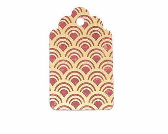 Red and Gold Gift Tags, Party Tags, Wedding Tags,  Gift Tags, Pattern Gift Tag, Wish Tree Tags, Favor Tags, Christmas Gift Tags