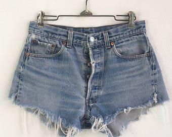 Vintage Levi's 501 Button Fly Cut-Off Indigo Denim Shorts size 28