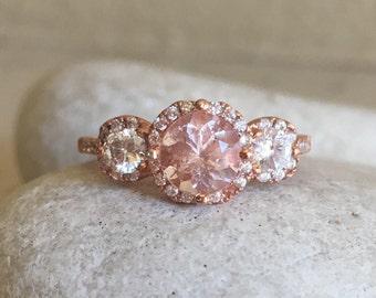 Morganite Rose Gold Ring- Morganite Bridal Set- Morganite Engagement Ring Set- Morganite Promise Ring- Art Deco Ring Set
