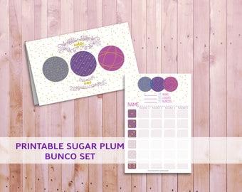 Sugar Plum Bunco Set, Printable Christmas Game, Printable Bunco Set, Matching Bunco Set, Winter Party Bunco Set, Cute Printable Bunco Set