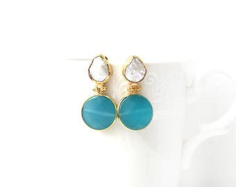 Freshwater Pearl and Turquoise Jade Double Stone Stud Earrings
