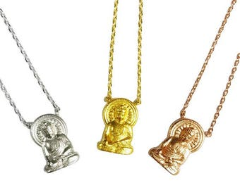 "Tiny Gold or Silver ""Buddha"" Necklace, Buddha Necklace - Dainty, Simple, Birthday Gift, Religious Yoga Gift"