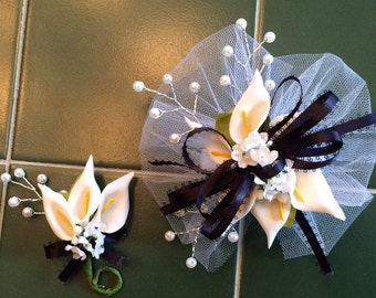 Pearl beads calla lily boutonniere and corsage set your colors white ivory pink red yellow purple blue turquoise aqua navy royal blue