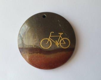 Succor Creek jasper pendant stone with sandblasted bicycle