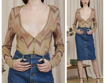 vintage 70s/80s MISSONI slinky space knit button down cardigan