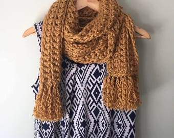 Fringe Scarf / Hygge / Over-sized Scarf / Thick Scarf / Crochet Scarf / Chunky Scarf / Honey Gold Scarf / Mustard Scarf