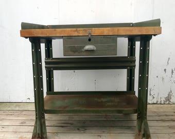 Vintage industrial Hallowell One Drawer Butcher Block Top Workbench